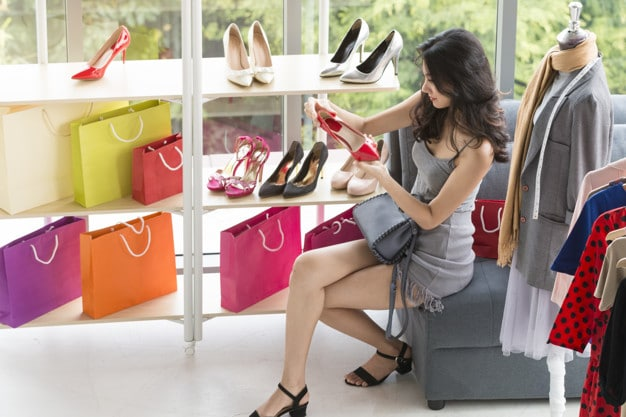 Woman shopping for shoes