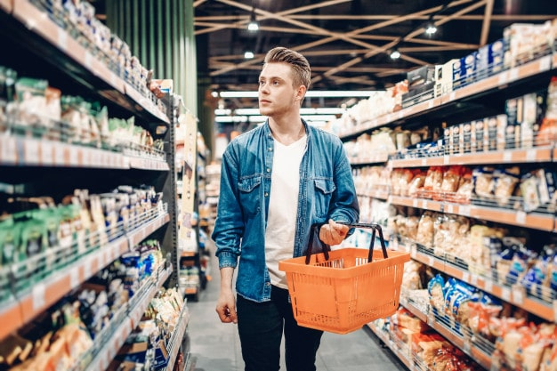 Mystery shopping man in grocery store
